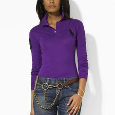 Custom-Fit manches longues Polo violet Tie. hua mao · Ralph Lauren Femme c55b989973c
