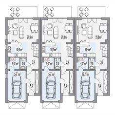 Projekt domu w zabudowie bliźniaczej ERWIN zestaw 3 segmentów L+S+P (HP21) | wybieramprojekt.pl Architecture Plan, Residential Architecture, Tiny House, Modern Design, House Plans, Villa, Floor Plans, How To Plan, Lofts