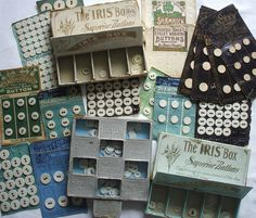 Vintage haberdashery - linen button cards and boxes by the vintage cottage, via Flickr