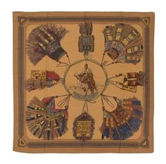 * An Hermes Cashmere Silk Scarf, 34 1/2 x 34 1/2 inches.