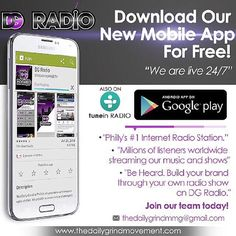 Tune in to #DGRadio Click the link in the bio to download our app for #24/7 #Music #Entertainment and #shows. Available on Android and on the TuneIn app for iPhone. Visit us at www.thedailygrindmovement.com  #Music #InternetRadio #TuneIn
