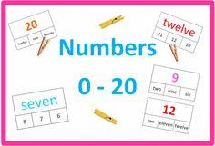 Kolíčkové karty k procvičování čísel 0 - 20 Numbers, Bullet Journal, English, English Language, Numeracy