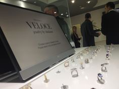 Close up of the display as people browse-Veloce jewelry by Medawar-Software by Tucknologies. Grand opening at the Portage, MI store; and debut of our software. Tucknologies develops software, websites and mobile apps for business. www.tucknologies.com