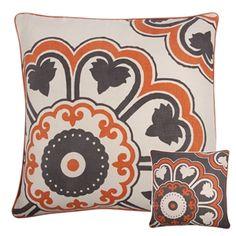 Orange and grey throw pillows. Living room inspiration.