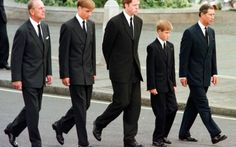 The young princes with their father Prince Charles, The Duke of Endinburgh and Earl Spencer outside Westminster Abbey during the funeral service for Princess Diana