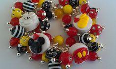Custom Boutique Mickey Mouse Polymer Clay Charm Fringe Bracelet. $18.00, via Etsy.