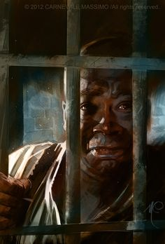 """""""The Green Mile"""".  'John Coffey', 'The gentle giant' on 'death row', played by Michael Clarke Duncan"""