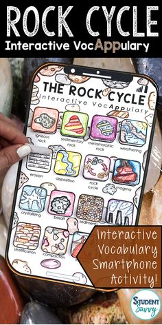 The Rock Cycle Interactive VocAPPulary - Vocabulary App Activity - Vocabulary Activities, Science Resources, Science Lessons, Science Experiments, Earth Science Activities, Science Classroom, Teaching Science, Weathering And Erosion, Rock Cycle