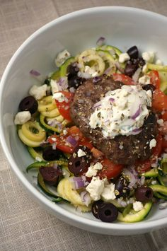 Greek Style Gyro Burgers (serve over zoodles or on pita with tzatziki)