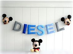 Personalized felt name banner  custom made wall by LullabyMobiles, $136.00