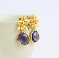 Gold Hydrangea Flower Post Earrings Purple by JacarandaDesigns