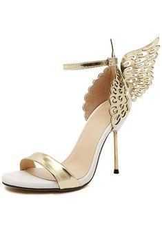 Sandalias de tacón alto mariposa -dorado 33.17
