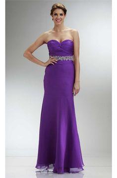 Fantastic Sheath Sweetheart Long Purple Chiffon Beaded Prom Dress