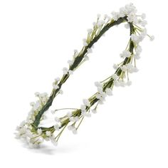 Women's Emily Rose Flower Crowns Baby's Breath Silk Flower Crown ($248) ❤ liked on Polyvore featuring accessories, hair accessories, flower crown, flowers, headbands, neutral, floral garland, flower garland, silk flower crown and floral garland headband