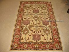 5x8 William Morris Arts Crafts Mission Style Coral Yellow Wool Area Rug | eBay