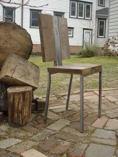 Modern brushed steel and wood chair