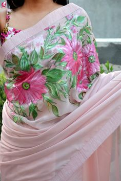 Light Pink Hand-painted Silk Chiffon Saree - Sarees - Home living color wall treatment kitchen design Lace Saree, Organza Saree, Chiffon Saree, Silk Chiffon, Saree Floral, Drape Sarees, Dupion Silk, Pink Saree, Fabric Painting On Clothes