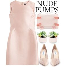 Nude Pumps - Polyvore Contest by evangeline-lily on Polyvore featuring Salvatore Ferragamo, Prada, CC SKYE and nudepumps