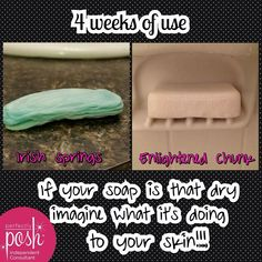 Leading soap bar vs Perfectly Posh's Enlightened Chunk Big Bath Bar. The difference in appearance is obvious, but think about what the one on the left is doing to your skin if it looks like that. Yuck! Grab one of Perfectly Posh's Chunk Big Bath Bars at www.perfectlyposh.com/katieglover. You will never use regular bar soap again after using one of our chunks :)