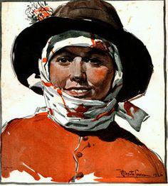 CEIFEIRA DE ESTREMOZ (1926) - aguarela de Mestre ALBERTO DE SOUZA (1880-1961), notável aguarelista e ilustrador, que calcorreou o país de lés a lés na primeira metade do século XX, funcionando como consciência plástica da Nação.