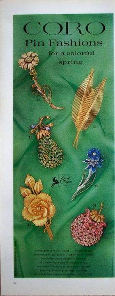 """1962 Coro Jewelry ad. Coro Pin Fashions for a colorful spring. 13.75"""" X 5.25"""". Excellent condition. This is for the advertisement only, not the product(s) shown. 