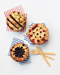 Fourth of July Summer Berry Pies Recipe