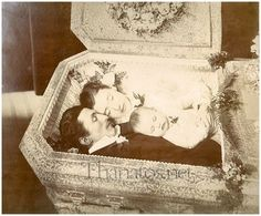 """""""Three in one casket""""   1894 : Emil, Mary, and baby Anna Keller.   Mary Keller shot her husband and child, then committed suicide in Auburn, New York. Mary was suffering from mental illness and her husband was very devoted to her till the end.  It's sad, but I can't help but admire the beauty of this photo"""
