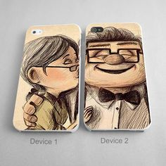 Old Carl And Ellie Up Disney Couples Phone Case iPhone 4/4S, 5/5S, 5C Series, iPhone 6, 6plus - Hard Plastic, Rubber Case