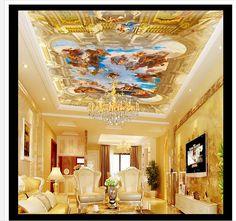 3D wallpaper custom mural non-woven wallpaper Zenith condole top European royal garden of Eden oil paintings ceiling wallpaper #Affiliate