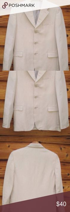 """Europa Collection Boy's Linen Blend Blazer Jacket Europa Collection Boy's Linen Blend Three-Button Blazer Jacket, Size 18 R  *Excellent condition. No stains, holes or other imperfections  Details: Europa Collection Size: 18 R Color: Beige Fully lined Padded shoulders Two front, flap pockets (sewn shut) One interior open pocket 55% Linen/45% Rayon Dry Clean Only  Measurements: Length: 25"""" Chest: 36"""" Waist: 34"""" Across Shoulders: 15"""" Europa Collection Jackets & Coats Blazers"""