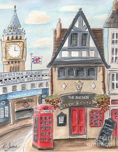 London Child's Art Of Big Ben And Paddington Station Painting by Debbie Cerone