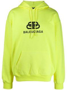 Balenciaga Oversized Logo-print Washed Loopback Cotton-jersey Hoodie In 7050 Yellow Yellow Balenciaga, Balenciaga Shirt, Trendy Outfits, Cool Outfits, Sweater Hoodie, Neon Green, Jumpers, Sweatshirts, Hoods