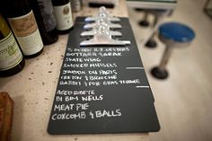 Clipboards painted with chalkboard paint serve as hand-written specials menus.