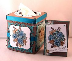 Autumn tissue and card  This is my kind of tissue box!