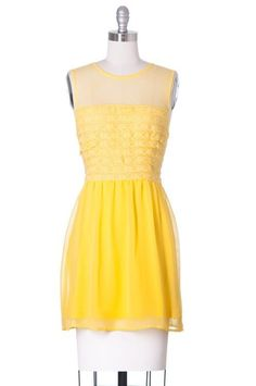 They Call me Mellow Yellow, Modcloth, Ruche Style, Sundress, Mesh, Lace, Juniors #ModClothStyle #Sundress #Casual