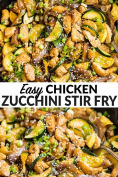 A delicious, healthy, and easy Asian chicken and zucchini stir fry with onions and a quick teriyaki sauce. Perfect for fast, nutritious weeknight dinners. Try it with other veggies for simple variations. Zucchini Stir Fry, Chicken Zucchini, Veggie Stir Fry, Chicken Zuchini Recipes, Broccoli Chicken, Recipe Chicken, Health Dinner, Zucchini Dinner Recipes, Simple Healthy Dinner Recipes