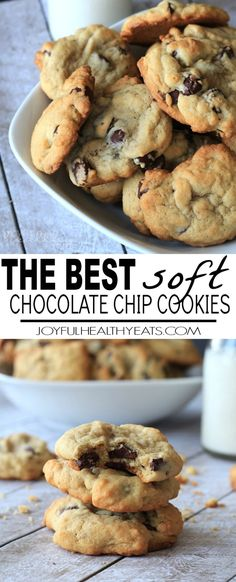 The Best Soft Chocolate Chip Cookies will you ever have! Half the butter and sugar, but same same great cookie taste! These are to die for! | joyfulhealthyeats.com