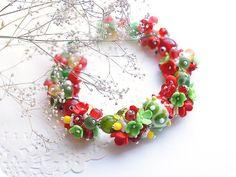 Spring Flower Bracelet - Summer Floral Bracelet - Polymer Clay Mothers Day Flower Jewelry - Red Bracelet - Green Bracelet - Rose Jewelry