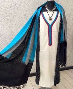 Black Ikat and white cotton kurta panelled kurta teamed with Hands of India cotton handwoven ikat dupatta. 100% blue cotton lowers. PRICE : ₹ 3100 TO BUY: rangindianwear@gmail.com