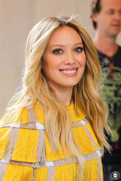 We love Hilary's locks against this yellow fringe top. Get more Hilary Duff style inspiration on the latest episodes of Younger at http://www.tvland.com/shows/younger.