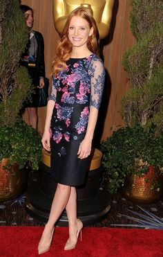 Jessica Chastain, love the sleeves on this elegant dress