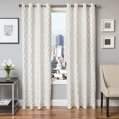 Softline Tyler Embroidered Grommet Top Curtain Panel - Curtains at Hayneedle