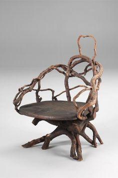 Karl Gräser - 'Chair in the style of his room furnishings on Monte Verita' Museum Casa Anatta, Monte Verita, Ascona, 1910 - Unhandeled braches, wooden panel