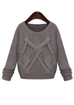 Grey Plain Belt Round Neck Wool Blend Sweater