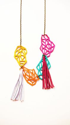 Geometric Leather Links Necklace