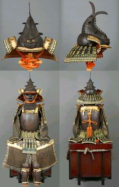 Iron Nanban Gusoku and Shachi-nari Kabuto. 18th Century. Of the four known examples of iron 'shachi-nari' helmets, two are held in the Yasukuni Shrine in Tokyo, but are unmounted bowls, the other lacquered iron example in private hands is mounted with a neck guard but has no armour. And then there is this piece, the only known, complete nanban armour with shachi-nari helmet, published in NIHON NO MEI KABUTO, volume 2 and exhibited in 1968 in Osaka Castle Keep.