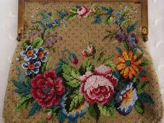 Original 1920's ~ BEADED Floral PURSE  ~  Each Side Different ~ Roses, Pansies + | eBay!