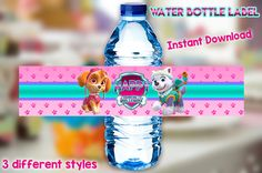 INSTANT DOWNLOAD 8 Water Bottle Labels Paw Patrol, Paw Patrol Skye Water Bottle, Paw Patrol Everest Water Label, Paw Patrol Party Supplies by IrisNaiderDesign on Etsy