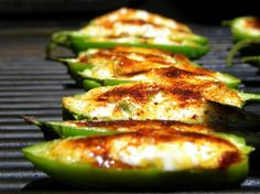 Jalapenos stuffed with cream cheese (8oz) and Monterrey Jack (1 cup); bake at 450 degrees for 10 minutes