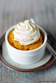 This Microwave Pumpkin Mug Cake recipe only takes 60 seconds to cook and only requires 4 ingredients! It is eggless, moist and so easy to make!